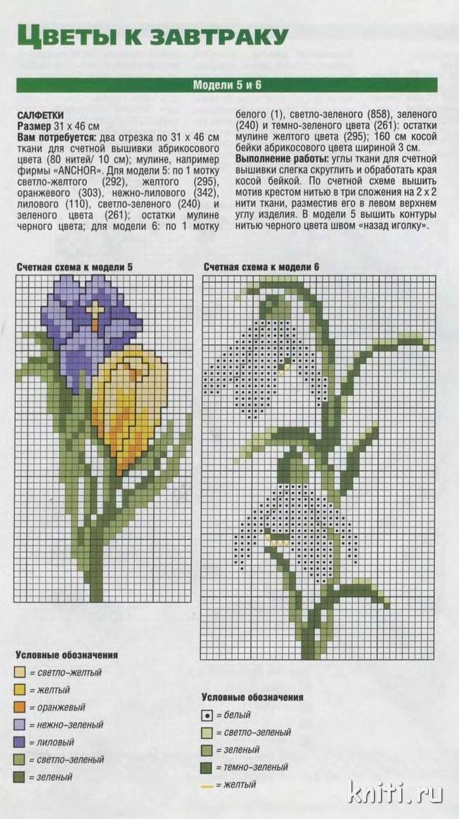 Схема вышивания цветов