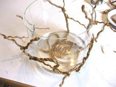 Ваза из пробковой верёвки