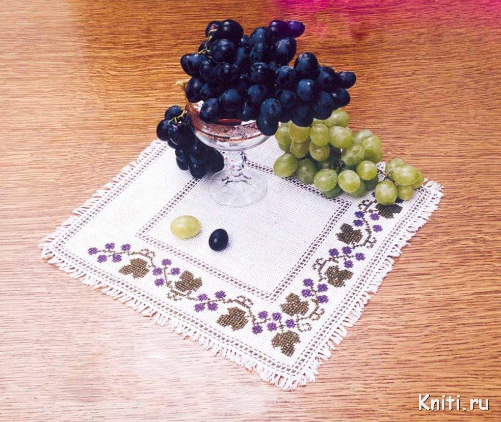 Вышивка ветка винограда