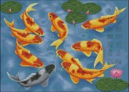 Вышивка китайские рыбки
