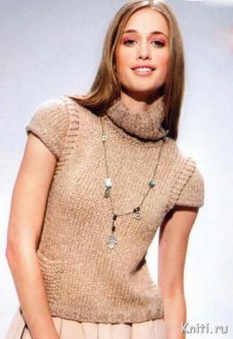 Пуловер с рукавами-крылышками