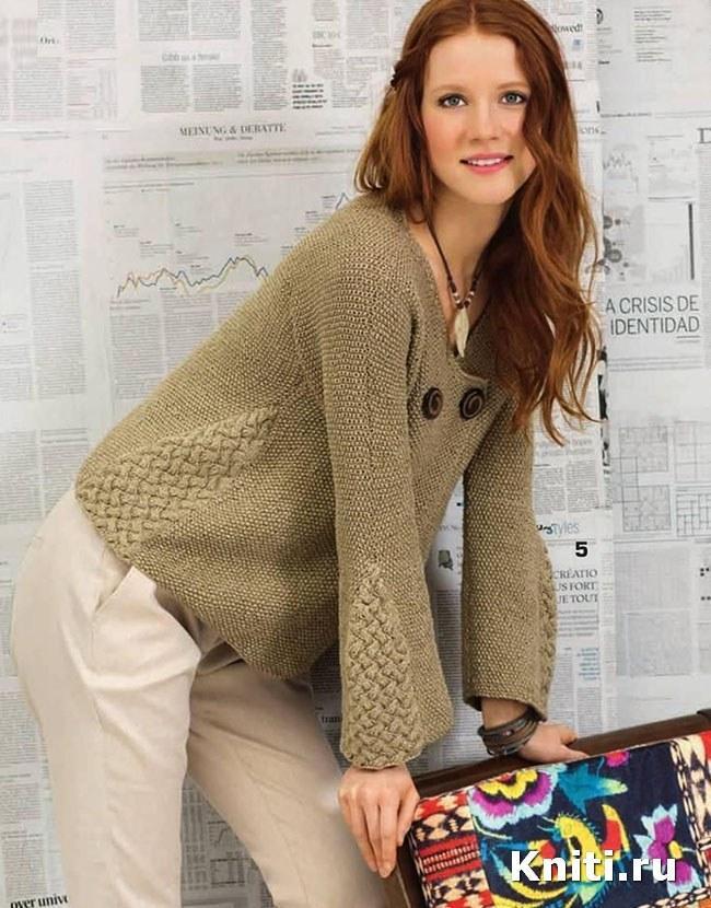 Жакет со вставками из плетеного узора