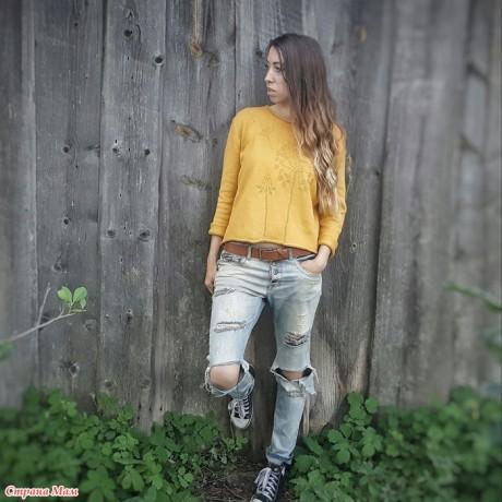 Вязаный свитер с одуванчиками, теневые узоры