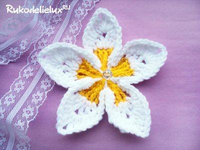цветок плюмерия крючком