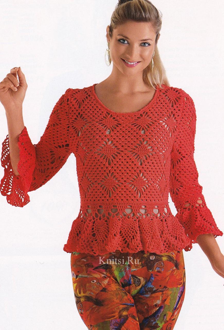 Ажурный пуловер с баской